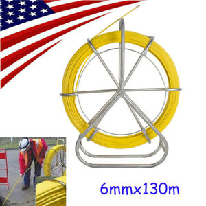 130m Quality Fishtape Fiberglass Wire Cable Running Rod Duct Rodder Puller 6mm A
