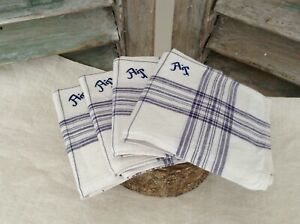 Antique Vtg French Fabric Lovely Pure Linen Handkerchiefs Purple