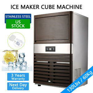 Us 130lbs Built in Commercial Ice Maker Undercounter Freestand Ice Cube Machine