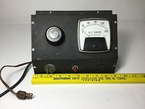 Vintage Variable Powerstat Ge A c Volt Meter Panel With Red Glow Light M12
