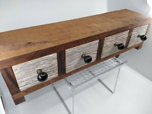 Vintage Apothecary 4 Drawer Spice Cabinet Barn Wood 9 Lbs