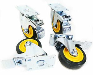 4pcs 4 Inch Wheel Swivel Plate Casters With Foot Brake Polyurethane Pu Caster
