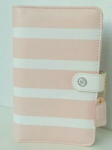 Websters Pages Color Crush Pink White Striped Personal Planner Kit 6 Ring Binder