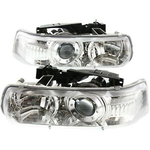 Headlights Lamps Performance Chrome Projector Pair For Silverado Tahoe Suburban