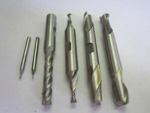 Assorted Lot Of 6 Hss Rh Square End Mills 2 4 Flute 028 3 8 New
