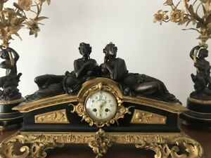 Antique Victorian French Ormolu Bronze And Marble Neoclassical Clock Garniture