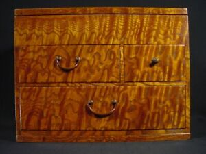 Japanese Antique Sewing Box Haribako Tansu Tamo Ash 4 Drawer Secret Compartment
