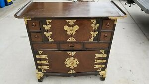 1800 S Antique Korean Bandaji Apothecary Chest Cabinet W Brass Decoration