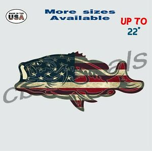American Flag Bass Vinyl Decal Sticker Fishing Car Truck Window Decals Large