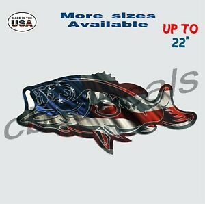 American Flag Bass Vinyl Decal Sticker Fishing Car Truck Window Decals Large 1
