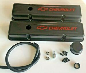 Chevy Steel Valve Covers Black W Chevrolet Logo Pcv Kit Hardware 350 383