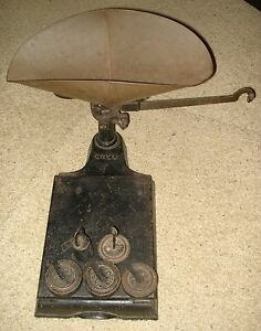 Vintage Antique Fairbanks Morse Co Scale With Scoop Hanger Weight Set