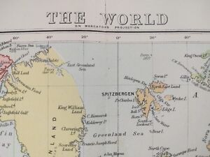 1896 World Map Stanford Old Antique Russia Usa Africa Asia Europe Canada Mapz