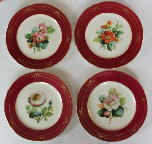 Antique 188o S Set Of 4 Victorian Hand Painted Porcelain Plates Continental