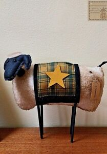 New Woolly Primitive Sheep Shelf Sitter W Blanket Star Country Farmhouse