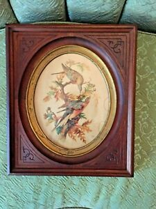 Lovely Wood Antique Victorian Deep Well Carved Frame Oval Picture