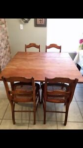 Antique Drop Leaf Dining Table 4 Cane Chairs