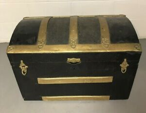 Antique 1800 S Steamer Trunk Camel Top Hump Back Stagecoach Chest