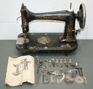 Antique 1896 Standard Sewing Machine Company W Extras Cleveland Ohio Usa