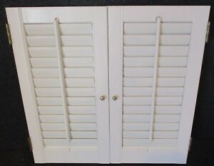 Wood Plantation Style Window Shutters W Louvers 25 3 4 Wide X 24 3 4 High E