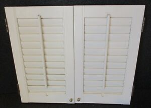 Wood Plantation Style Window Shutters W Louvers 25 3 4 Wide X 21 3 4 High F