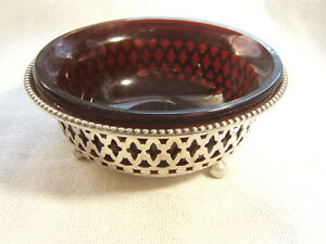 Gorham Sterling Silver Large Open Salt With Cranberry Insert Circa 1900