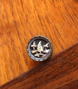 Small Antique Victorian Metal Button Flower W Ivoroid Leaves