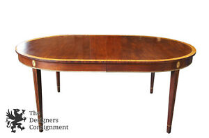 Stickley Monroe Place Solid Mahogany Dining Table 4586 Oval Maple Inlaid 72