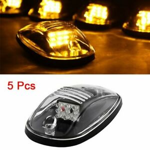 5 X Clear Amber Led Upper Peak Jeep Pickup Roof Top Running Lights Lamps