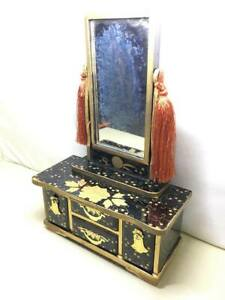 Japanese Hina Doll Furniture Lacquer Ware Wood Miniature Chest Box Mirror