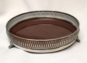 Vintage Friedman Silver Co Picwood Pickwood Formica Footed Tray Silver Plate 10