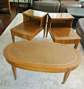 Pair Antique Stair Step Tier End Tables And Coffe Table W Leather Inserts