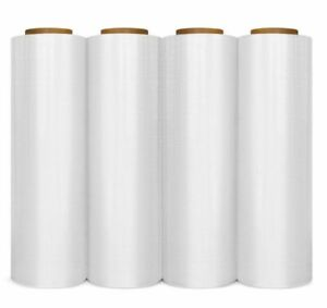 New 4 Roll Stretch Wrap Hwiv Shrink Film 12in X 1500ft 20 3 Micron