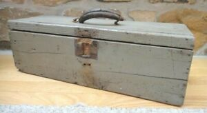 Antique Early Wood Tool Box Orig Battleship Blue Paint Aafa