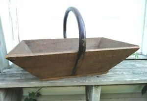 Antique Large Early Wood Basket Tote Bent Handle Old Tool Harvest Prim Americana