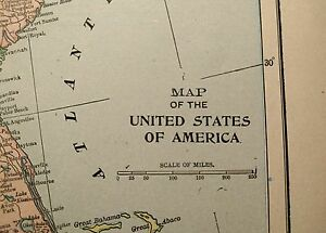 Vintage 1900 United States Map 22 X14 Old Antique Usa North America Mapz