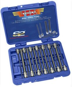 Vim Tools Hxl100 14pc 3 8 Drive Sae Extra Long Hex Ball Hex Socket Set