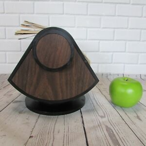 Vintage Rolodex Model Sw 124 Swivel Rotary Card File Faux Wood Grain Retro Desk