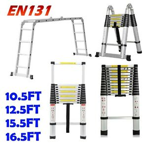 15 5 16 5 10 5 12 5ft Telescopic Ladder Aluminum Extension Multi purpose Garden
