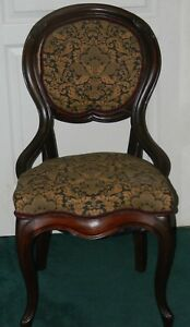 Antique Original Period Victorian Parlor Game Table Upholstered Side Chair