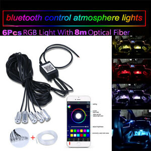 10 In 1 Car Styling Rgb Led Strip Light Interior Kit Ambient Lamp 8m App Control