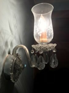 Antique Crystal Electric Wall Sconce With Etched Globe