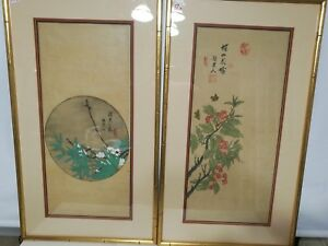 Pair Of Antique Original Chinese Painting On Silk Chen Jenbiao 1927