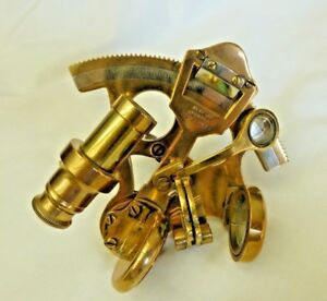 Antique Brass Sextant Vtg Smith Co London England Handheld Style Ex Cond
