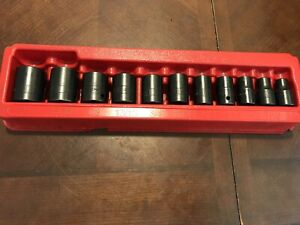 Snap On Tools Usa 6pt Socket Set 1 2 Drive Shallow Short Sae Impact 311imya Tray