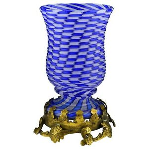 French Clichy Blown Glass Vase In Cane Swirl Pattern Ormolu Base