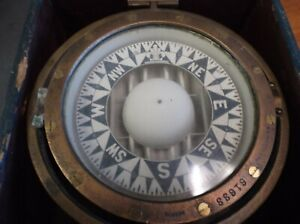 Vintage Rare E S Ritchie Nautical Gimbal Compass 61633 Solid Brass In Box