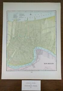 1901 New Orleans Louisiana Map 11 X14 Old Antique Vintage Slidell Metairie Mapz