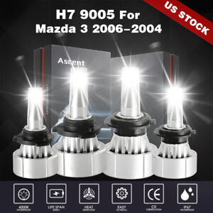 Front 9005 Hb3 H7 Led Headlight Bulbs Replace Lights Kit For 2006 2004 Mazda 3