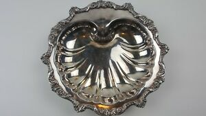 Antique 11 Silver Plated Footed Tray Shell Shaped Old English By Poole 5034